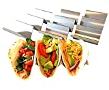 Taco Holder - Taco Holders, Stainless Steel with a Free Recipe Booklet - Taco Stand Up Holder - Taco Stand - Taco Plates - Holds 3 Tacos - Dishwasher, Oven and Grill Safe (4 Pack with handles)