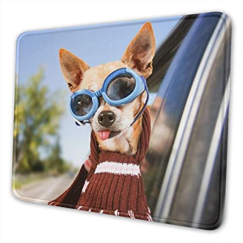 Mauspad, Mauspad mit hochwertigem Stoff, rutschfeste Gummibasis, wasserdichtes Tastaturpad, Mausmatte für Spieler, Büro & Heim, Hund mit dem Kopf aus dem Fenster mit Schutzbrille