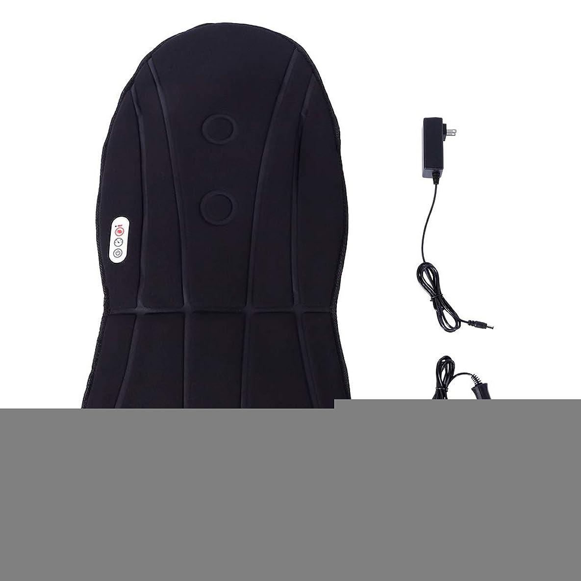 黒人崇拝する合法バックマッサージと首の振動のための暖房マッサージ付きマッサージ車のクッション振動クッション3ホームオフィスで調整可能な速度(US)