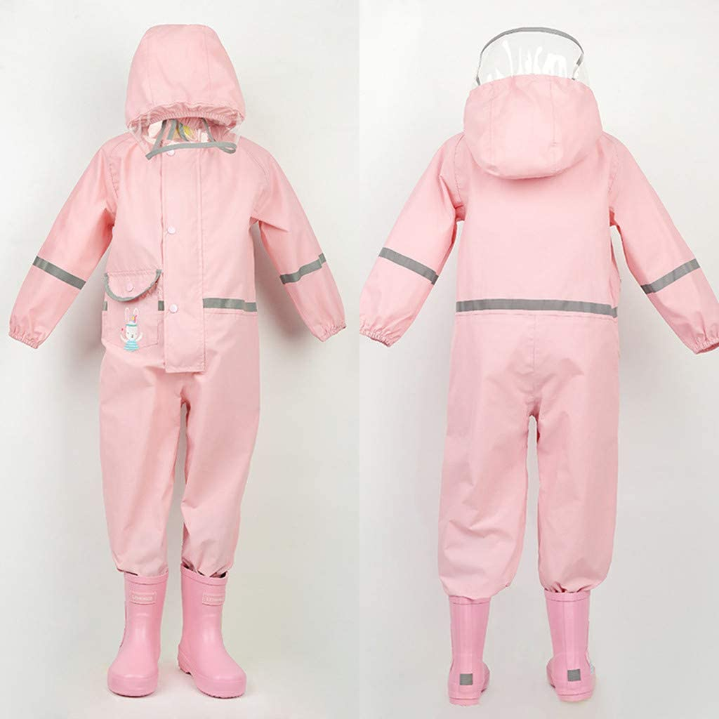 2-8 Years Toddler Rain Suit Baby Rain Suit with Hood Waterproof Coverall One Piece Rain Suit Kids Muddy Buddy