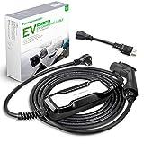 Morec 16A EV Charger Level 1-2 NEMA6-20P with Adapterfor NEMA 5-15, 100V-240V, Portable EVSE SAE J1772 Plug 8m...