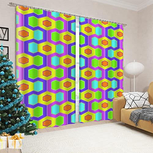 Cortinas Salon 2 Piezas Cubo de Rubik de Color Moderno Cortinas Dormitorio Suave con Ojales,220x215cm Cortinas Opacas Habitación Térmicas Aislantes Frío y Calor