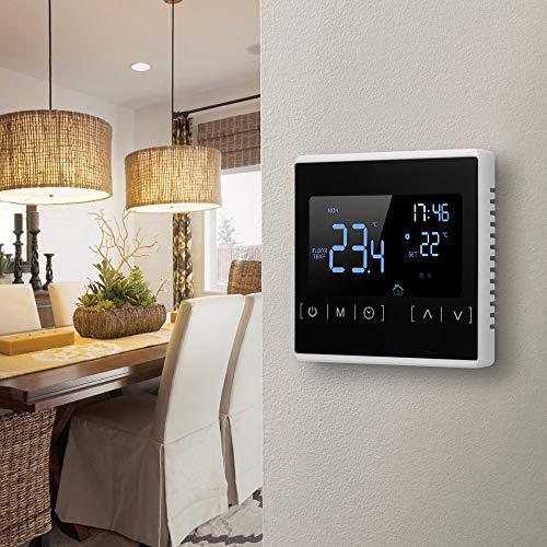 KKmoon® - Termostato inteligente con pantalla táctil LCD para sistema de calefacción por suelo radiante eléctrico, programable en casa, termorregulador de calefacción de agua