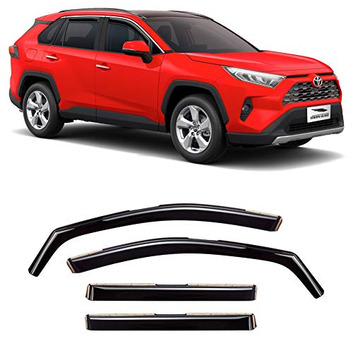VORON GLASS in-Channel Extra Durable Rain Guards for Toyota Rav4 2019-2021, Window Deflectors, Vent Window Visors, 4 Pieces - 220111