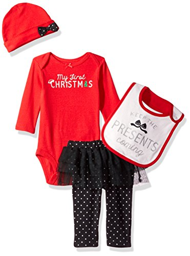 Simple Joys by Carter's Baby Girls' 4-Piece My First Christmas Set, Red/ Black Tutu, 0-3 Months