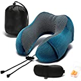 Travel Pillow, Memory Foam Neck Pillow with 360-Degree Head Support Comfortable Airplane Pillow with Storage Bag Lightweight Traveling Pillow for Sleeping, Car, Train, Bus and Home Use
