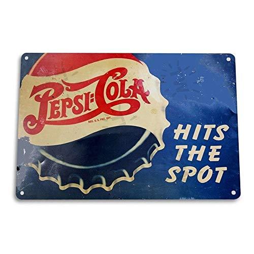 Pepsi Hits Spot Cola Pop Shop Kitchen Soda Bar Pub Vintage Retro Tin Sign Metal Sign TIN Sign 7.8X11.8 INCH