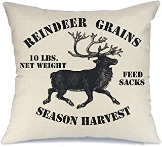 AENEY Christmas Pillow Cover 18x18 for Couch Deer Throw Pillow Farmhouse Decorations Home Decor Xmas Decorative Pillowcase Faux Linen Cushion Case Sofa