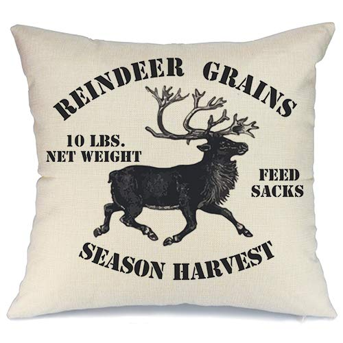 AENEY Farmhouse Christmas Pillow Cover 18x18 inch Vintage Deer Throw Pillow for Christmas Decor Christmas Decorations Throw Pillow Cover