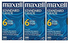 small Maxell VHS Blank 3 Pack Standard Quality T-1206h EP / 246m