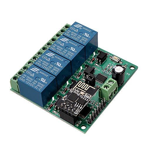 MANHONG Tarjeta DE Circuito Impreso Módulo Cuatro Canales de retransmisión WiFi Smart Home Phone App de Control Remoto del Interruptor de DC12V ESP8266