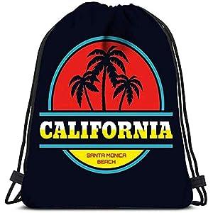 51tigX+qAWL. SS300  - RJ Unique Mochila Cordónes,Concepto De Playa De California Santa Mónica En Estilo Vintage para Y Bolsas De Zapatos De…