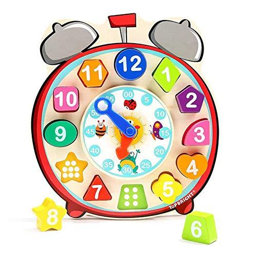 YYQIANG Bloques de construcción de Reloj Niños a lo Largo de 1 año de Edad Baby Shape Matching Blocks Digital Cognitive Clock Juguetes educativos tridimensionales Aficiones Infantiles