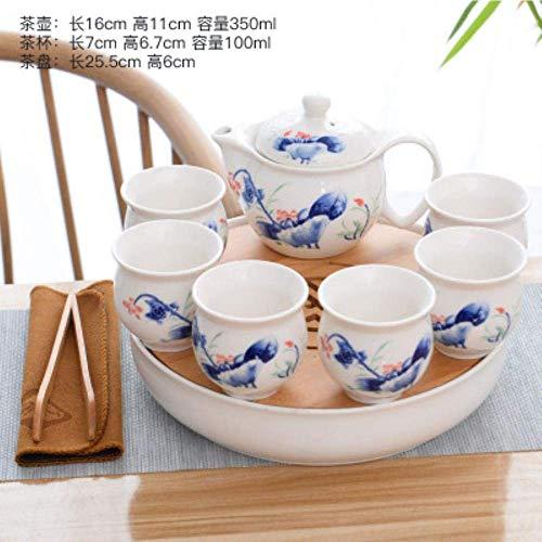 Chinese blauw en wit porselein keramiek theeservies theepot 400ml porseleinen kop soaking theepot kungfu theeservies drinkbeker, 6 LMMS (Color : 3)