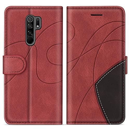 SUMIXON Hülle für Xiaomi Redmi 9, PU Leder Brieftasche Schutzhülle für Xiaomi Redmi 9, Kratzfestes Handyhülle mit Kartenfächern & Standfunktion, Rot
