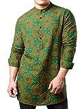 JOGAL Men's African Dashiki Print Long Sleeve Casual Button Down Mandarin Collar Shirts A369L Large Green