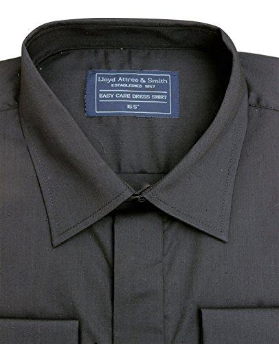 Lloyd Attree & Smith Herren Hemd, normale Passform, einfarbiger Kragen, Schwarz, 11 Größen