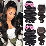 Yareesong 8A Brazilian Virgin Human Hair Bundles with Closure Free Part Brazilian Body Wave Hair 3 Bundles with Closure...