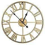 ENCOFT Reloj de Pared Decorativo Vintage Reloj Cologado con Mecanismo Silencioso Decoración para Habitación Dormitorio Oficina Bar (Oro, 47cm)
