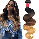 AUTTO Hair Thick Brazilian Ombre Hair Body Wave One Bundle 1B/4/27 Human Hair Weave Extension 100% Virgin Body Wave Honey Brown Hair 12 Inch