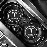 Aishengjia 2 Uds, Posavasos para Coche, Alfombrilla Antideslizante, Posavasos De Silicona Epoxi, Estilo De Coche para Tesla Model 3 Model X Y Style Roadster