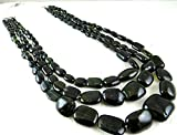 LKBEADS Natural 3 Line Multi BLACK TOURMALINE Long Cabochon Beads NECKLACE 21 INCH 21MM TO 7MM