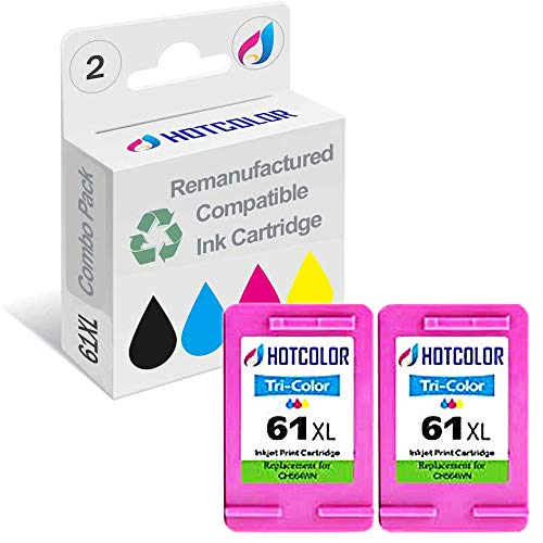 HOTCOLOR Remanufactured Ink Cartridge Replacement for HP 61XL Work for HP Envy 4500 5530 5534 5535 Deskjet 1000 1010 1512 3050 3000 Officejet 4630 2620 4632 Printer (Tri-Color, 2-Pack)