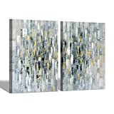 Abstract Picture Wall Art: Gray & Golden Hand Painted Artwork Contemporary Painting on Canvas for Living Room (24'' x 18'' x 2 Panels)