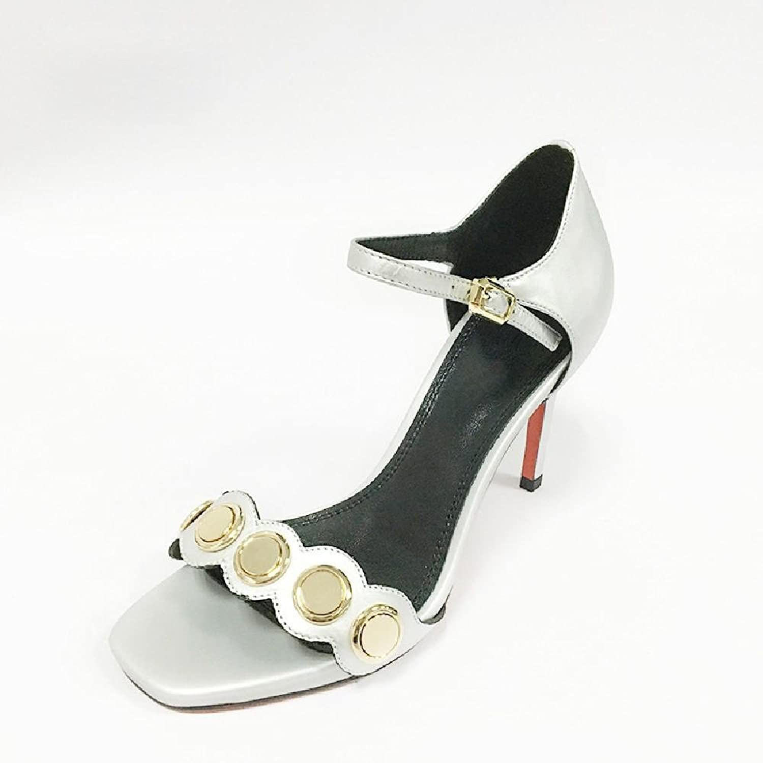 MEIREN shoes leather high heel shoes stiletto metal buckle Sheepskin square peep-toe sandals