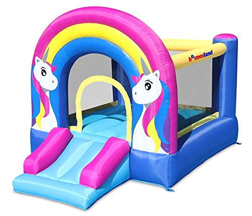 Bounceland Rainbow Unicorn Bounce House with Slide 98 ft L x 68 ft W x 65 ft H inflated Size UL Certified Blower Included inflates in Less Than a Minute Outdoor and Indoor use