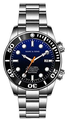 MARC & SONS - Orologio subacqueo automatico, 1000 m, vetro zaffiro, valvola...