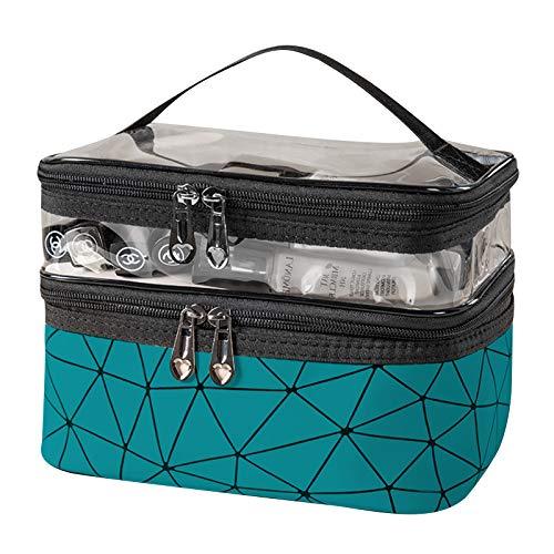 iFCOW Bolsa de cosméticos de doble capa impermeable bolsa de maquillaje portátil de viaje organizador cosmético bolsa