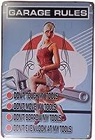 メカニックガレージルール女性面白いティンサイン