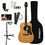 Sawtooth Acoustic Dreadnought Guitar (Custom Pickguard) with Case, Tuner, Stand, Strap, Picks & Online Lesson
