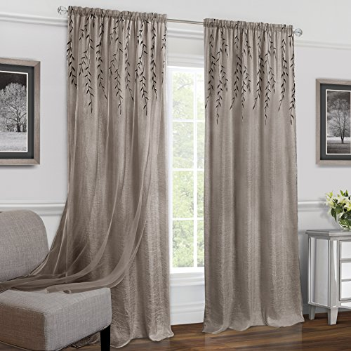 Achim Home Furnishings Willow Rod Pocket Window Curtain Panel, 42' x 63', Toffee