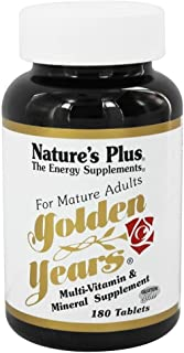 NaturesPlus Golden Years - 180 Easy to Swallow Tablets - Mature Adult Multivitamin & Mineral Supplement, Supports Energy Production - Gluten-Free - 30 Servings