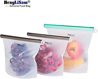 REUSABLE Silicone Food Storage Bags 3 Packs for Lunch Bags Ziplock Sealed Food Bag Keep Your Food Fresh Sous Vide Lunch Snack Sandwich Freezer100% Silicone for BPA-Free Safe Food Bags