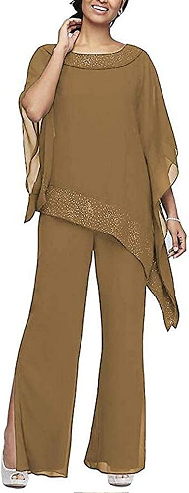 Women's Elegant Brown 3 Pieces Pant Suits Set Chiffon Mother of The Bride Dress with Outfit Wedding Party US16