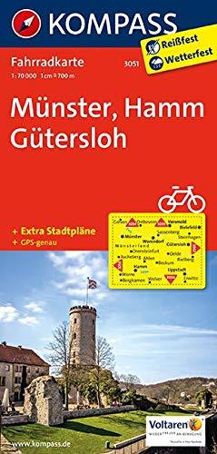 Carta cicloturistica n. 3051. Munster, Hamm, Guthersloh 1:70.000. Adatto a GPS. Digital map. DVD-ROM: Radkarte. GPS-genau