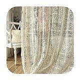 CORTINAS Algodón Grecia Vintage Crochet Para Sala Acabado Para Sala Dormitorio-Beige-260X266Cm