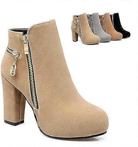 XQY Damen Stiefel - Winter Warm High Heel Kurze Stiefel Stiefel Stiefel England Wies Stiefelies Matte Leder   36-43  Qualität garantiert