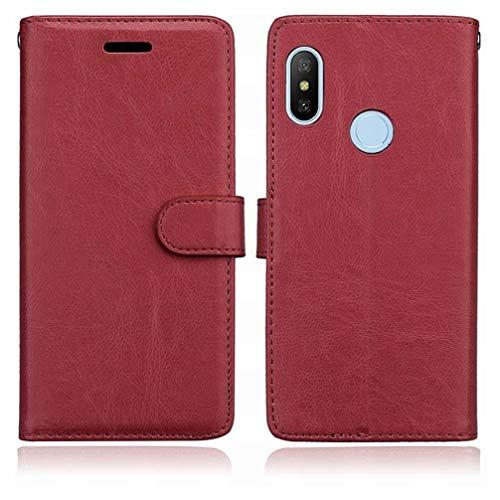 Laybomo Funda para Xiaomi Mi A2 Lite (Redmi 6 Pro) Carcasa Fundas Cuero Carcasa Silicona TPU Flip Cover Marco de la Foto Magnética Protector Bolsa Tapa Carcasa para Xiaomi Mi A2 Lite (Marrón)
