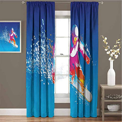Youth for Bedroom Blackout Curtains Colorful Figure of a Young Man Snowboarding on Blue Background with Paint Splashes Blackout Curtains for The Living Room W84 x L108 Inch Multicolor