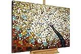 KunstLoft Gemälde 'Zauber im Baumwipfel' in 120x80cm | XXL Leinwandbild handgemalt | Baum Weiß Kirschblüten Blüte Braun | Wandbild-Unikat | Acrylgemälde auf Leinwand | Großes Acrylbild
