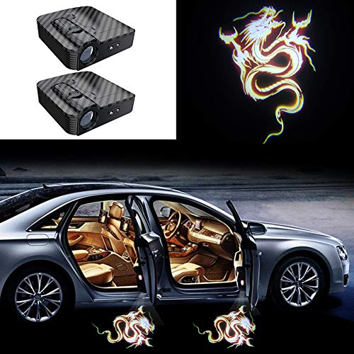 2PCS Carbon Fiber Texture Universal Wireless Universal Car Projection LED Projector Door Shadow Logo Light Welcome Lamps Courtesy Lights Kit Sensor (Flame dragon)