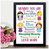 Christmas Gifts for Mum Mummy Her Princess PERSONALISED Xmas Present - PERSONALISED with ANY NAME and ANY RECIPIENT - Black or White Framed A5, A4, A3 Prints or 18mm Wooden Blocks