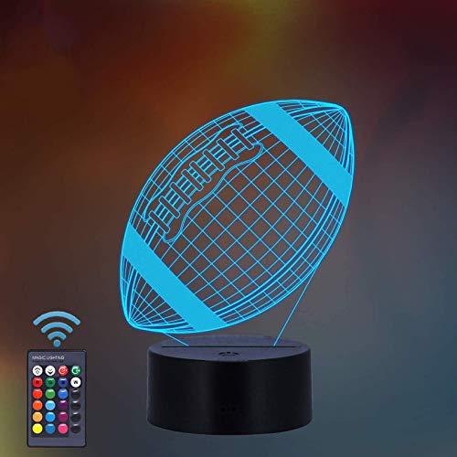 ThinkLess - Lámpara de Noche 3D, 16 Colores cambiantes para niños con Mando a Distancia, diseño de fútbol Americano, Regalo de fútbol Americano a Partir de 2 3 4 5 6 años para niñas y niños y Mujeres