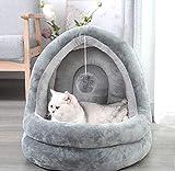 2020年最新款 猫ハウス 猫ベッド ドーム型 犬猫 マット 寒さ対策 保温防寒 柔らかい 洗える ゃれ 滑り止め 小型犬 キャットハウス 休憩所 5kg以下犬猫に適用する (ライトグレー)