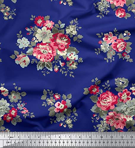 Soimoi 58 Pulgadas De Ancho con Estampado Floral 115 gsm Rayón Viscosa Confección De Telas por Metros - Azul