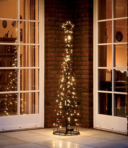 LED Metall-Tannenbaum   mit warmweißen LED beleuchtet   Lichterbaum - Weihnachtsbaum für den Innen und geschützten Außenbereich (150 cm / 130 LED)